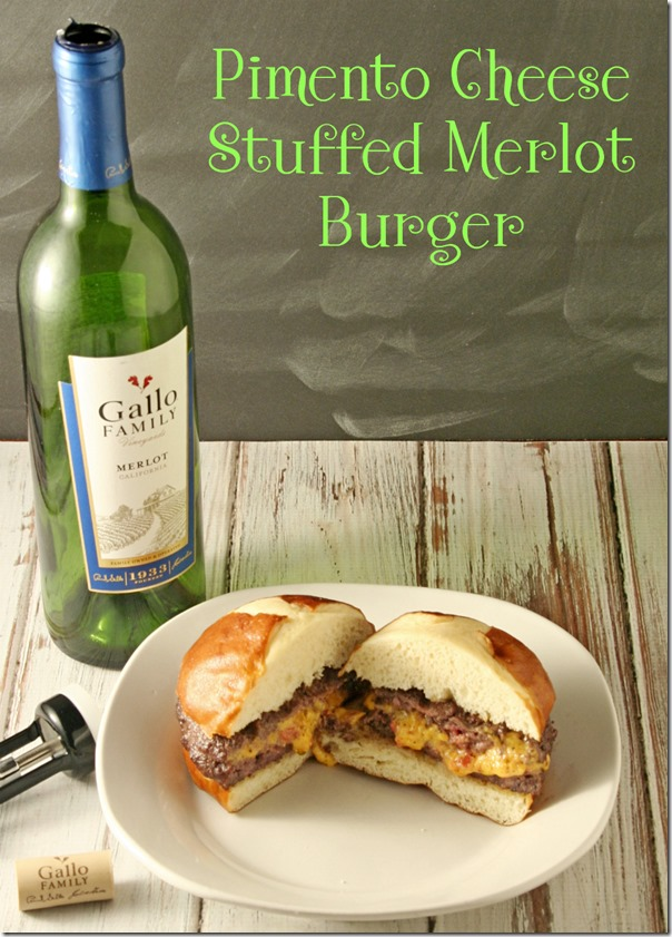 Pimento Cheese Stuffed Merlot Burger #SundaySupper - Yours And Mine Are Ours