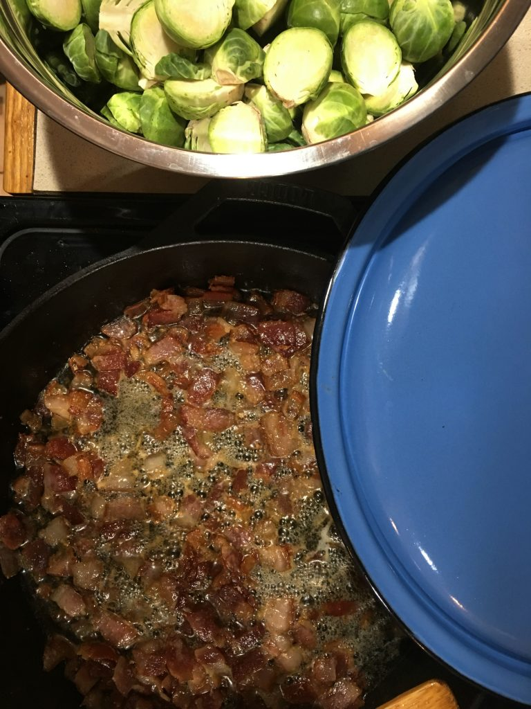 caramelized_brussels_sprouts_with_bacon_process_photo_two | YoursAndMineAreOurs