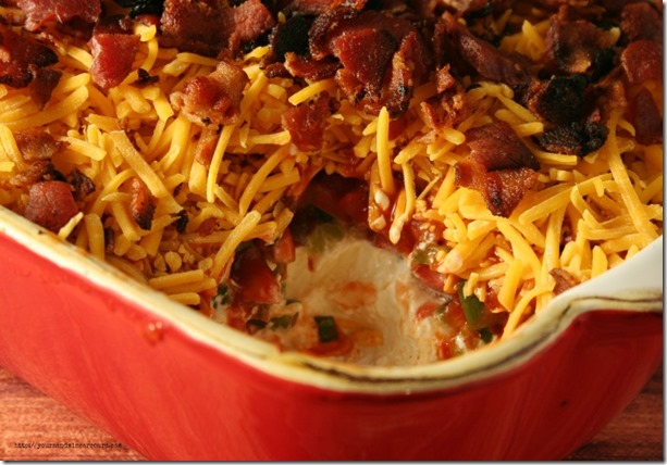 Low-Carb Cheddar Bacon Dip - YoursAndMineAreOurs.com - #AppetizerWeek #OXO