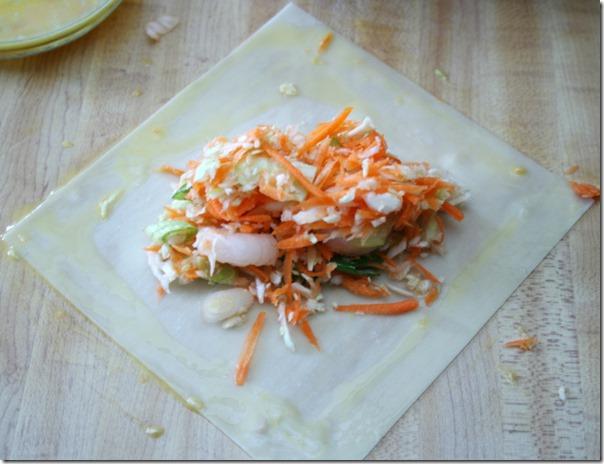 Homemade Shrimp Eggroll Step Two