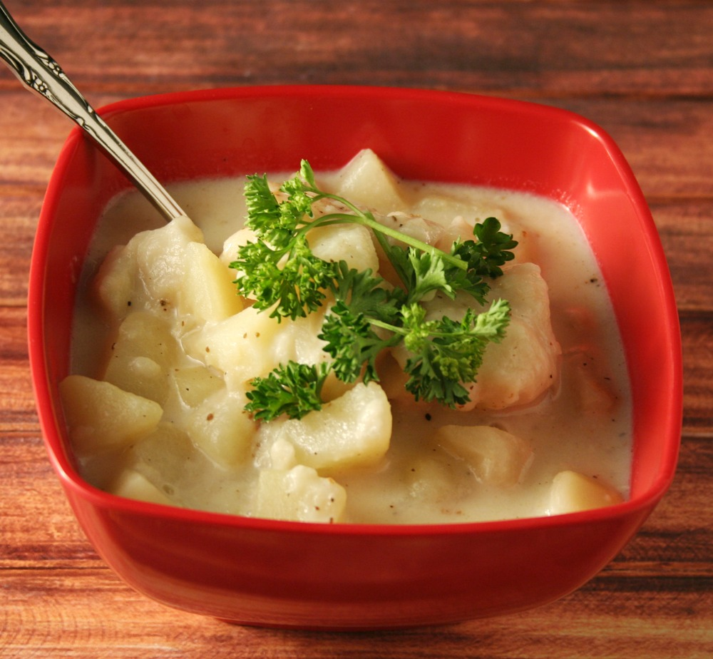 Simple Potato Soup and Dumplings - Yours And Mine Are Ours - Incredibly satisfying and simple meal that requires few ingredients!