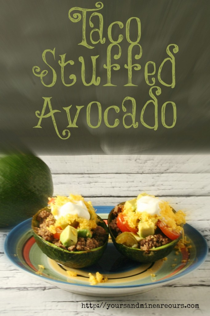 Taco Stuffed Avocado with Avocado Salsa - Yours And Mine Are Ours- A fun way to serve Taco Salad with an Out Of This World Avocado Salsa!