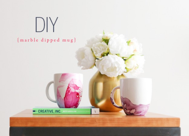 DIY Marble Dipped Mug - House of Hipsters - Tips and Tricks Linky